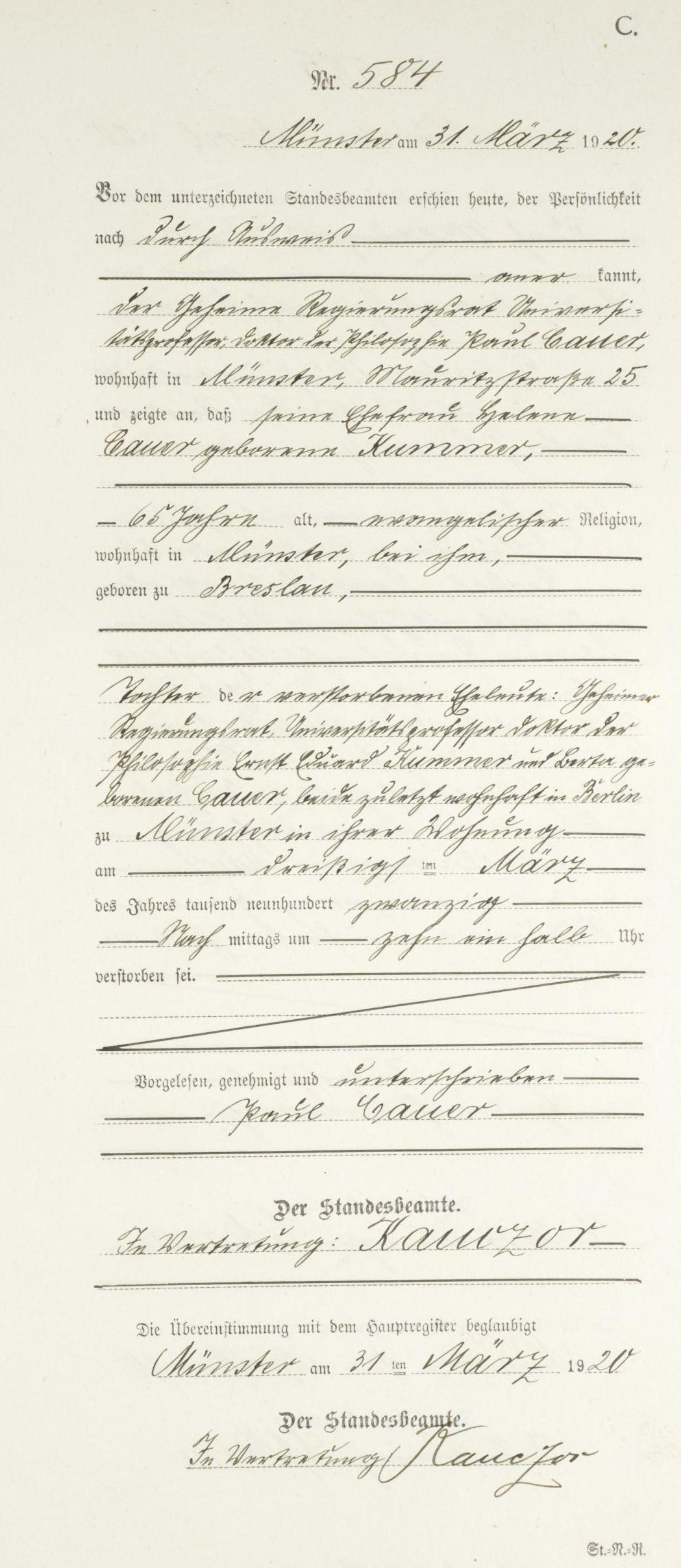 Rekord śmierci Helene Kummer Cauer [Kredyt: MyHeritage Niemcy, Nadrenia Północna-Westfalia, indeks śmierci 1870-1940]