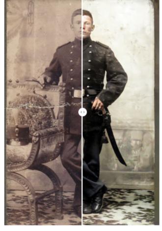 Po lewej: oryginalne uszkodzone zdjęcie Po prawej: po naprawie, koloryzacji i ulepszeniu przez MyHeritage – wszystko automatycznie!