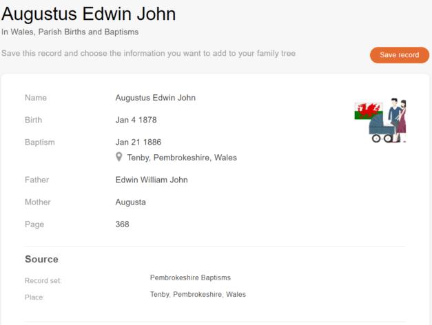 Akt chrztu Augusta Edwina Jana, 1886. [Credit: MyHeritage Wales, Parish Births and Baptisms]