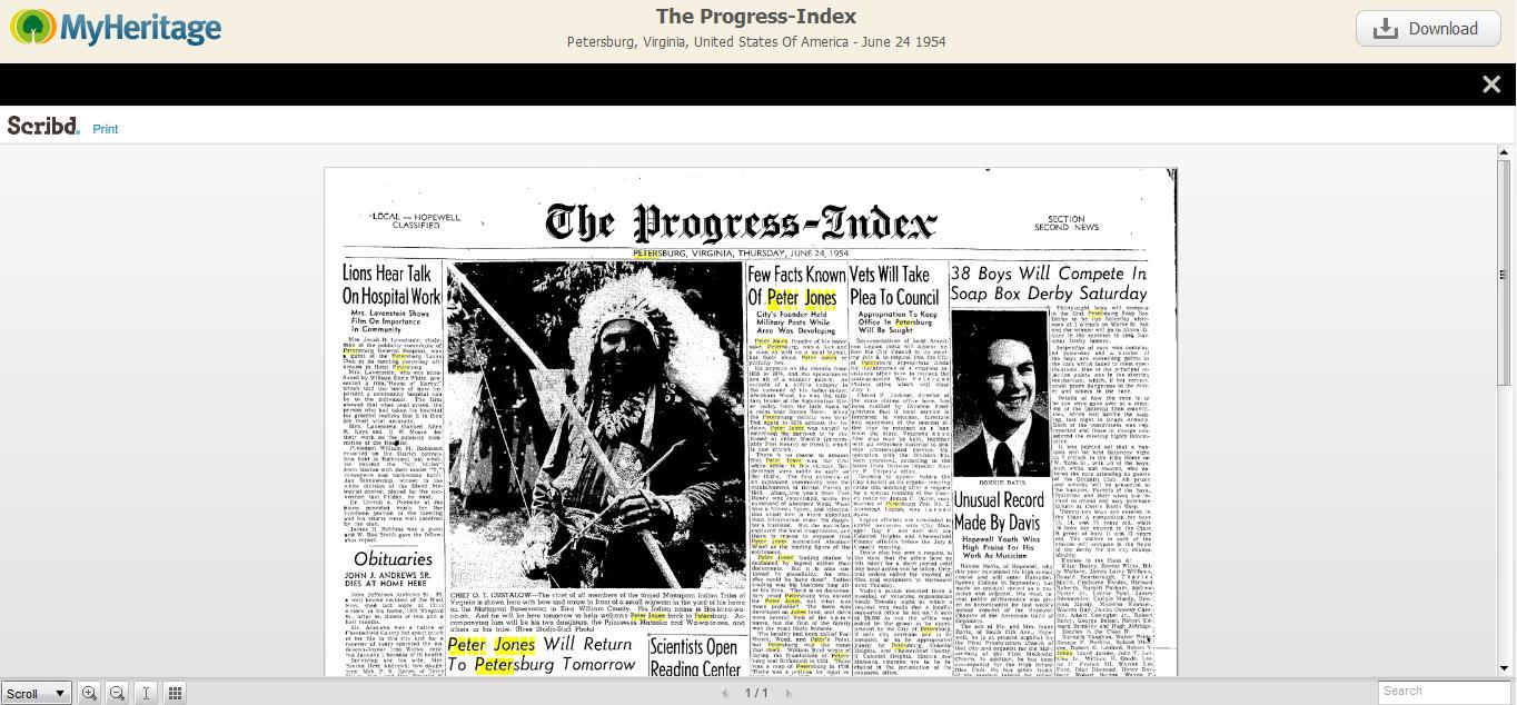 Strona gazety - z tekstem wyników z podświetlonym  wyszukiwaniem (kliknij, aby powiększyć