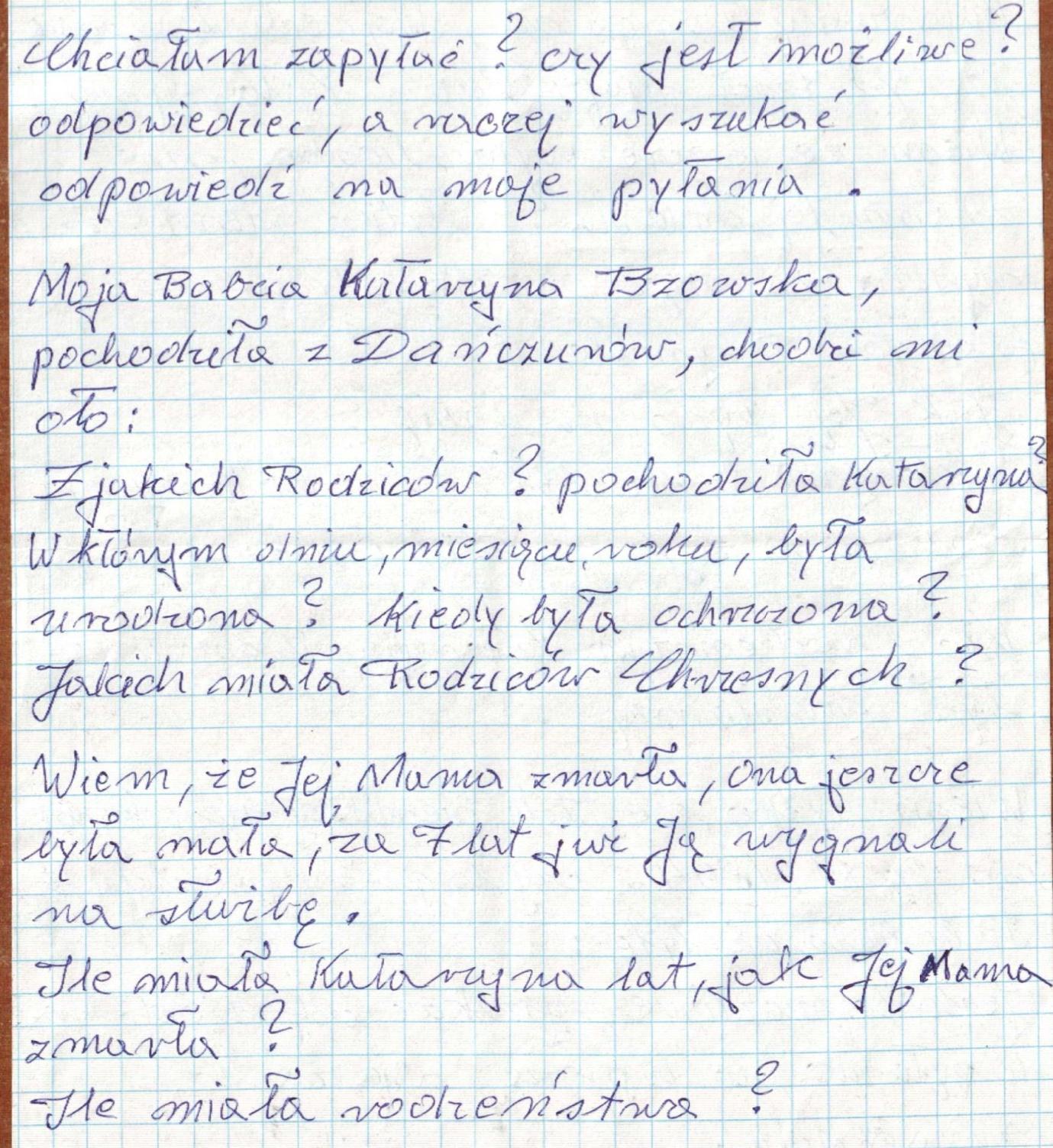 Fragment listu Pani Krystyny do Proboszcza
